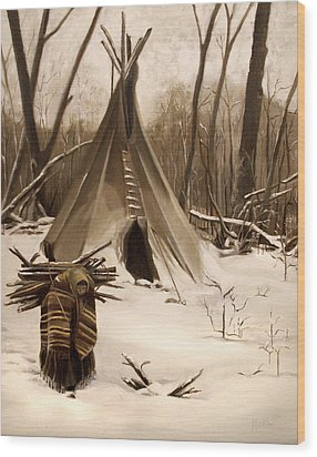 Wood Print featuring the painting Wood Gatherer by Nancy Griswold