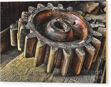 Wood Gears Wood Print by Olivier Le Queinec