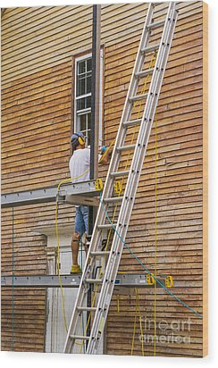 Wood Sanding The House Wood Print by Patricia Hofmeester