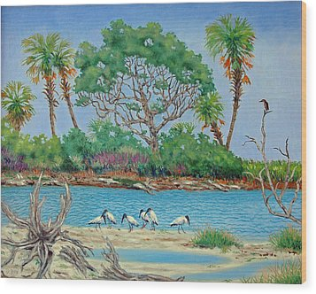 Wood Stork Beach Party Wood Print