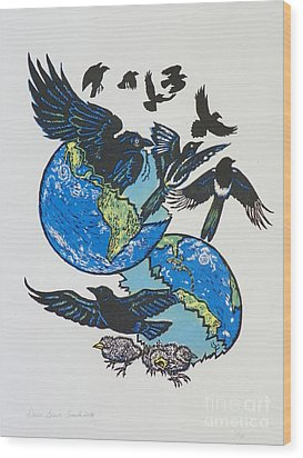Woodcut Cover Illustration For Corvidae - Poems By Bj Buckley Wood Print by Dawn Senior-Trask