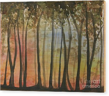 Wooded Sunset Wood Print by Bev Arnold