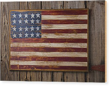 Wooden American Flag On Wood Wall Wood Print by Garry Gay