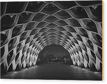 Wooden Archway With Chicago Skyline In Black And White Wood Print