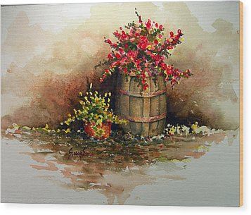Wooden Barrel With Flowers Wood Print by Sam Sidders