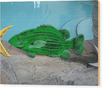 Wooden Bass Fish Wood Print by Val Oconnor