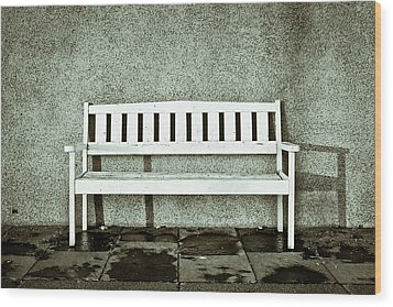 Wooden Bench Wood Print by Tom Gowanlock
