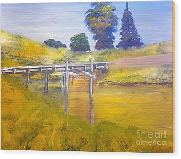 Wood Print featuring the painting Wooden Bridge At Graften by Pamela  Meredith