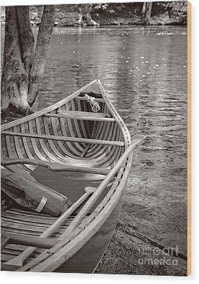 Wooden Canoe Wood Print by Edward Fielding