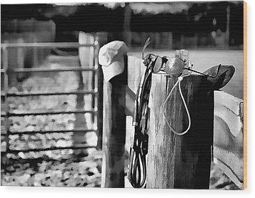 Wooden Fence Wood Print by Pamela Blizzard
