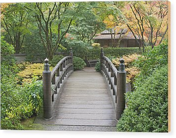 Wood Print featuring the photograph Wooden Foot Bridge In Japanese Garden by JPLDesigns