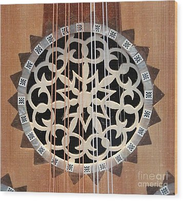 Wooden Guitar Inlay With Strings Wood Print by Cynthia Snyder