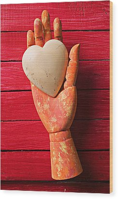 Wooden Hand With White Heart Wood Print by Garry Gay