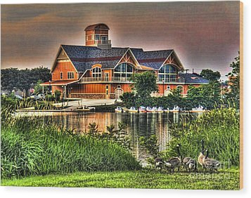 Wooden Lodge Over Looking A Lake Wood Print