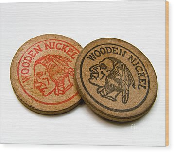 Wooden Nickels Wood Print by Amy Cicconi