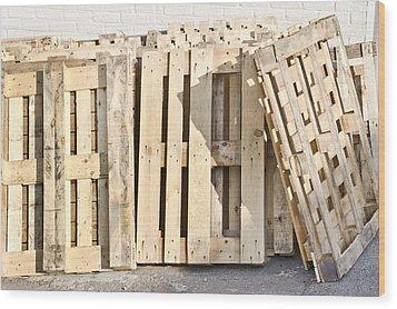 Wooden Pallets Wood Print by Tom Gowanlock