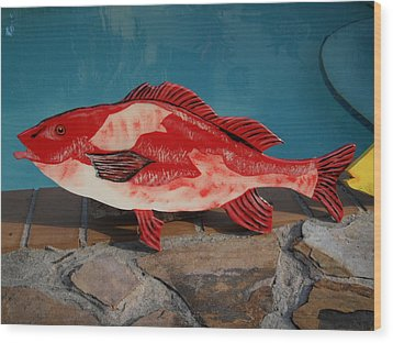 Wooden Red Snapper Wood Print by Val Oconnor