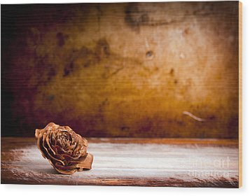 Wooden Rose Background Wood Print by Tim Hester