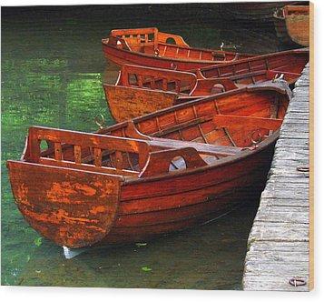 Wooden Rowboats Wood Print by Ramona Johnston