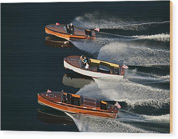Wooden Runabouts On Lake Tahoe Wood Print by Steven Lapkin