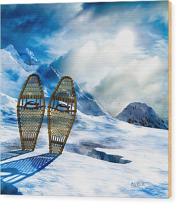 Wooden Snowshoes  Wood Print by Bob Orsillo