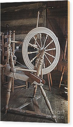 Wood Print featuring the photograph Wooden Spinning Wheel by Sebastian Mathews Szewczyk