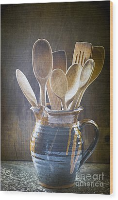 Wooden Spoons Wood Print by Jan Bickerton