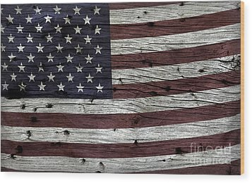 Wooden Textured Usa Flag3 Wood Print