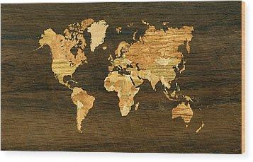Wooden World Map Wood Print by Hakon Soreide