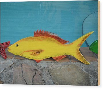Wooden Yellow Tail Wood Print by Val Oconnor