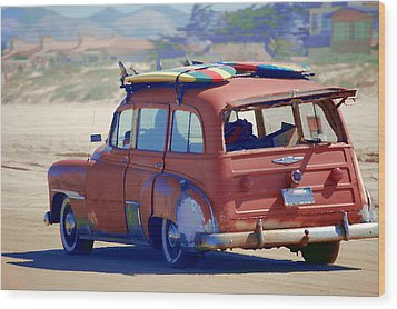 Wood Print featuring the photograph Woodie On The Beach by Tamyra Crossley