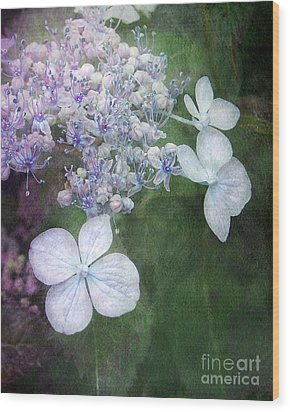 Woodland Hydrangea In Blue Wood Print