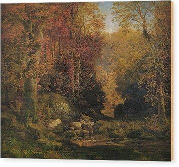 Woodland Interior Wood Print by Thomas Moran