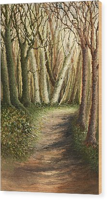 Woodland Walk Wood Print