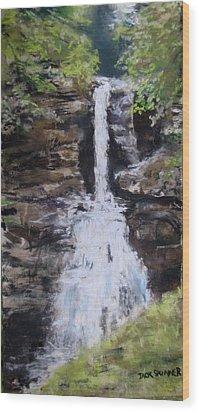 Woodland Waterfall Wood Print by Jack Skinner