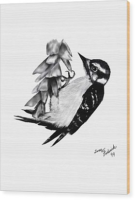 Woodpecker Wood Print by Terry Frederick