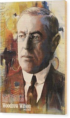 Woodrow Wilson Wood Print by Corporate Art Task Force