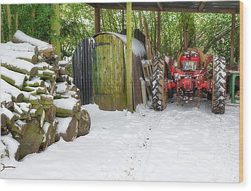 Woodshed In Winter Wood Print by David Birchall