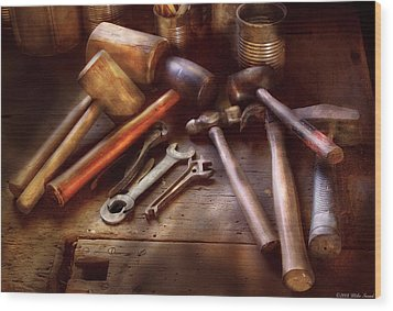 Woodworker - A Collection Of Hammers  Wood Print by Mike Savad