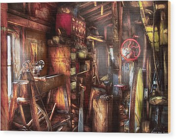 Woodworker - The Workshop Of A Very Busy Person Wood Print by Mike Savad