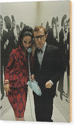 Woody Allen Posing With A Model Holding Wood Print by David Mccabe