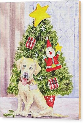 Woof Merry Christmas Wood Print by Irina Sztukowski