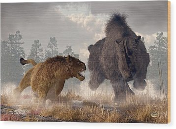 Woolly Rhino And Cave Lion Wood Print by Daniel Eskridge