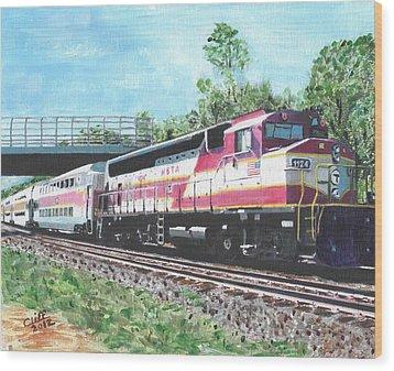 Worcester Bound T Train Wood Print by Cliff Wilson