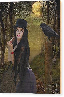 Words Of The Crow Wood Print by Linda Lees