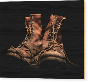 Work Boots Wood Print by Christopher McKenzie