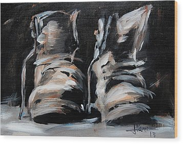 Work Boots Wood Print by Jim Vance