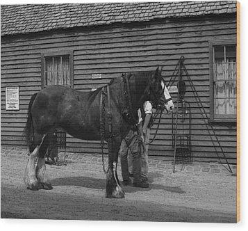 Work Horse Wood Print by Serene Maisey