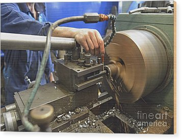 Worker At Factory Checking A Milling Cutter Wood Print by Sami Sarkis