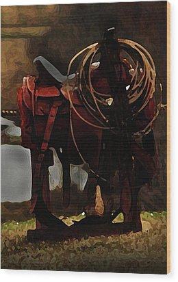 Working Man's Saddle Wood Print by Kim Henderson